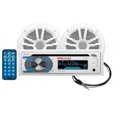 Pack Som CD/USB/SD, MPE, WMA, FM/AM Player/Bluetooth com Colunas de Som164 mm - Branco - Boss Marine