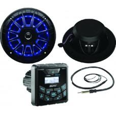 Pack Rádio Bluetooth/AM/FM com Colunas 164mm e Antena - Preto - Seachoice