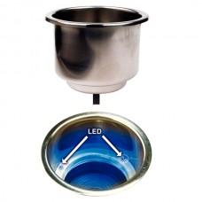 Suporte de Bebidas em Aço Inox com Led - Luz Azul - Seachoice
